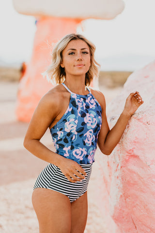 THE WATERCOLOR FLORAL PEPLUM TANKINI TOP