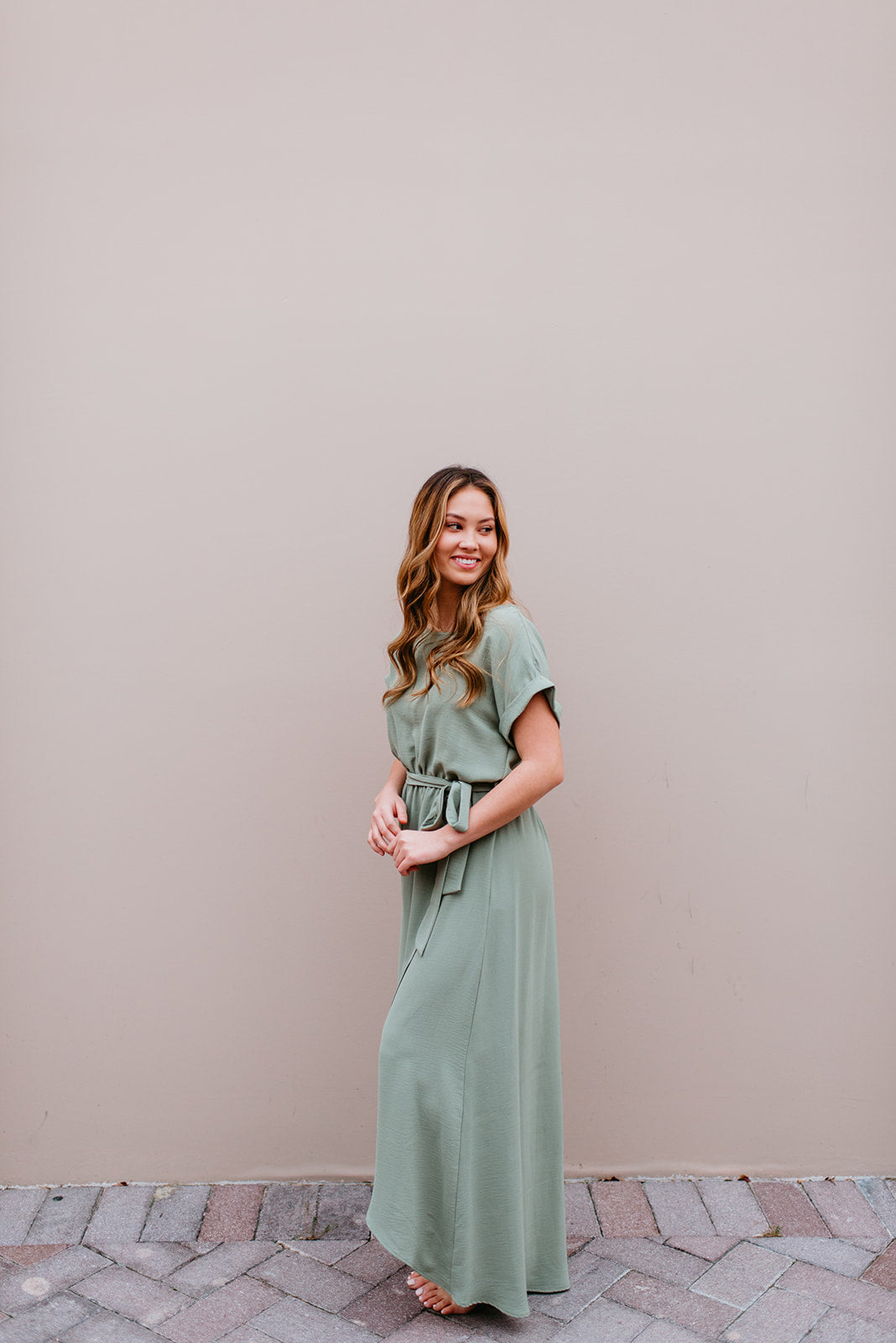 THE SELENA WRAP MAXI DRESS IN SAGE