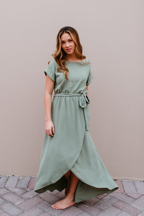 d755b5b8c84 THE SELENA WRAP MAXI DRESS IN SAGE