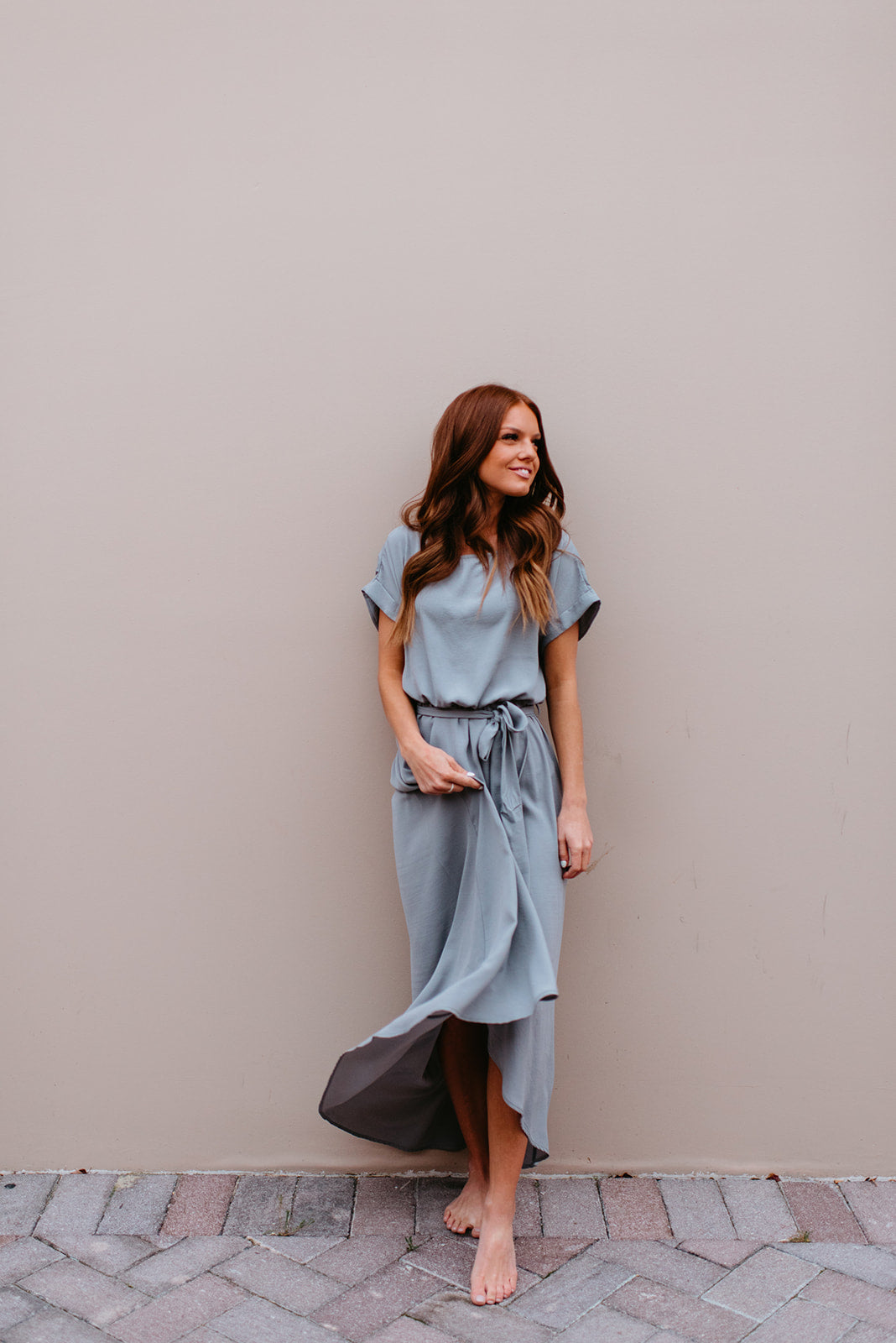 THE SELENA WRAP MAXI DRESS IN SLATE GREY