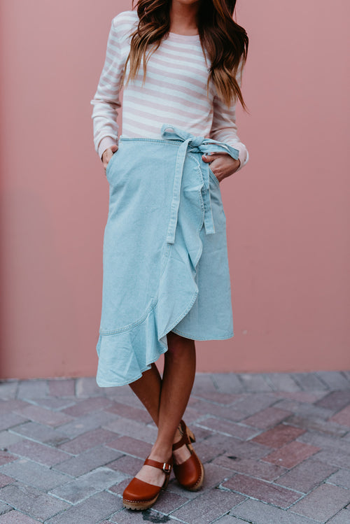 THE DELILAH SKIRT IN LIGHT DENIM