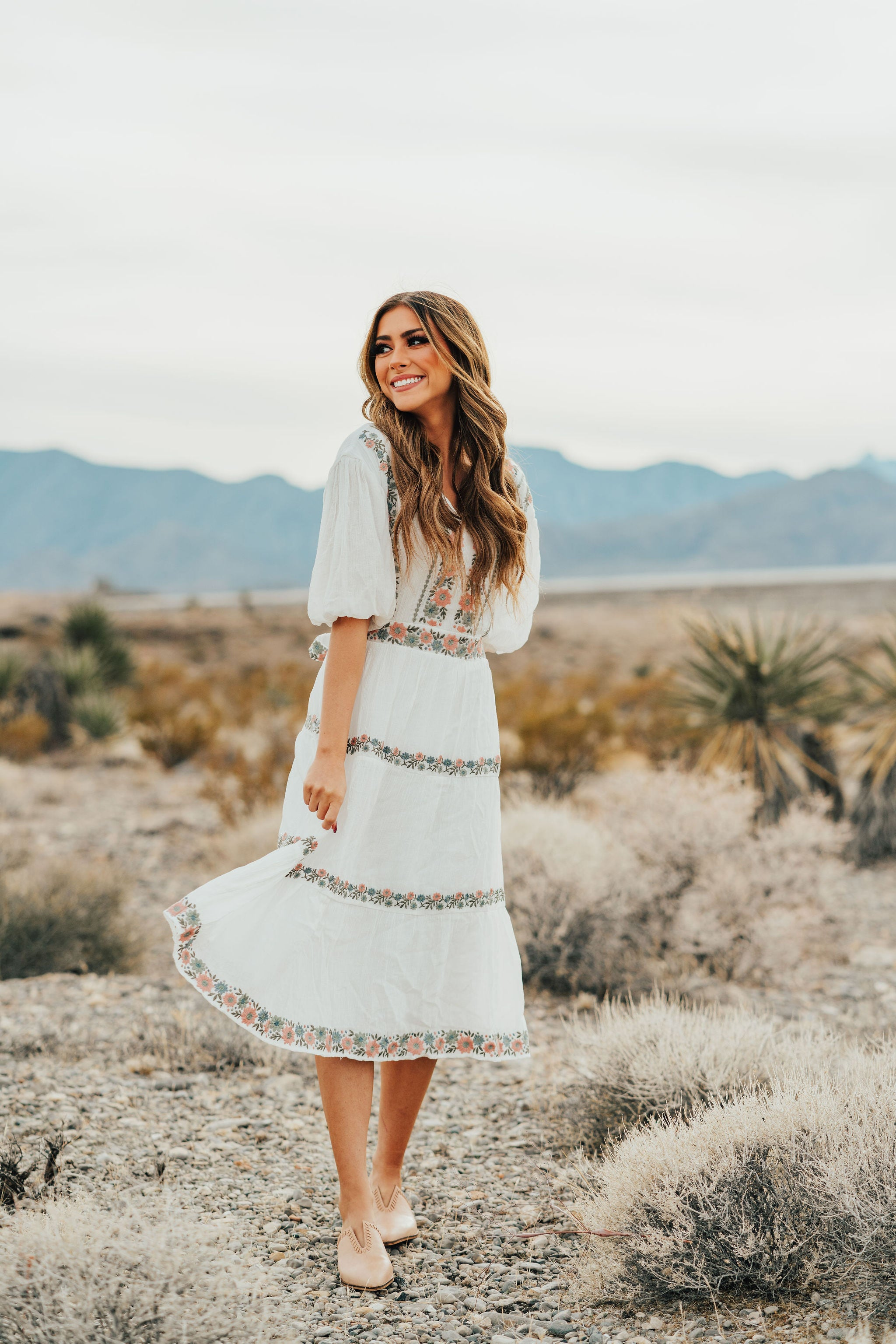 AL CARRAWAY X PINK DESERT - THE DANICA EMBROIDERED MIDI DRESS IN IVORY
