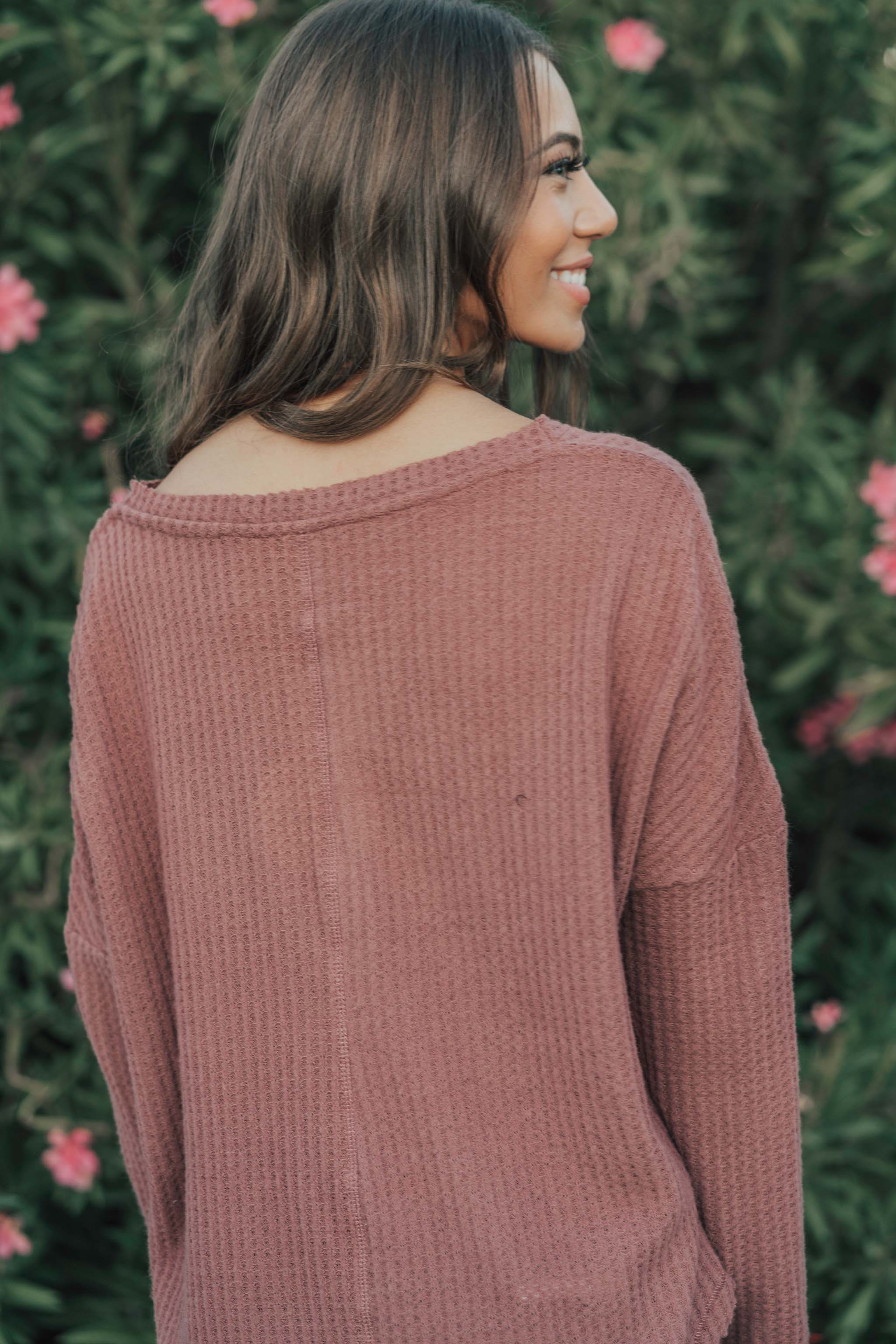 THE JORY WAFFLE KNIT TOP IN MAUVE