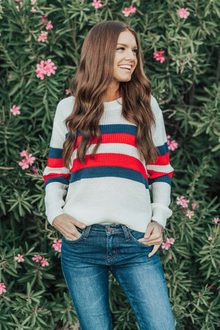 THE BROOKLYN STRIPE SWEATER IN MAUVE