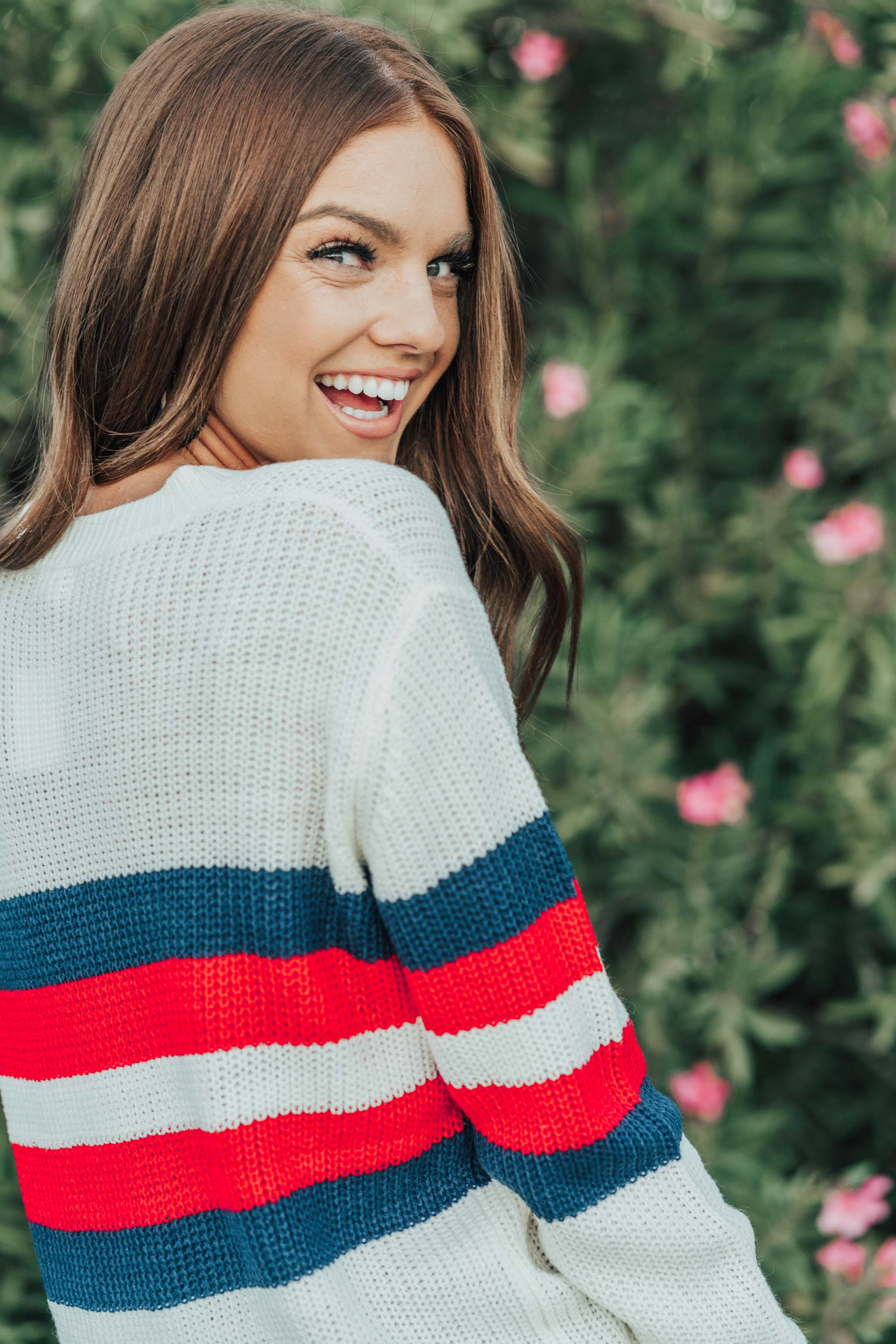 THE PHELPS STRIPE KNIT SWEATER IN IVORY