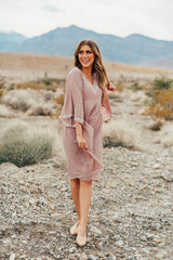 AL CARRAWAY X PINK DESERT - THE EMMA EMBROIDERED BABY DOLL DRESS IN MAUVE