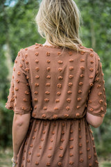 THE VERONA POLKA DOT POM MIDI DRESS IN CARAMEL