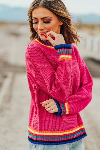 THE CAMRYN COLOR BLOCK WAFFLE KNIT TOP