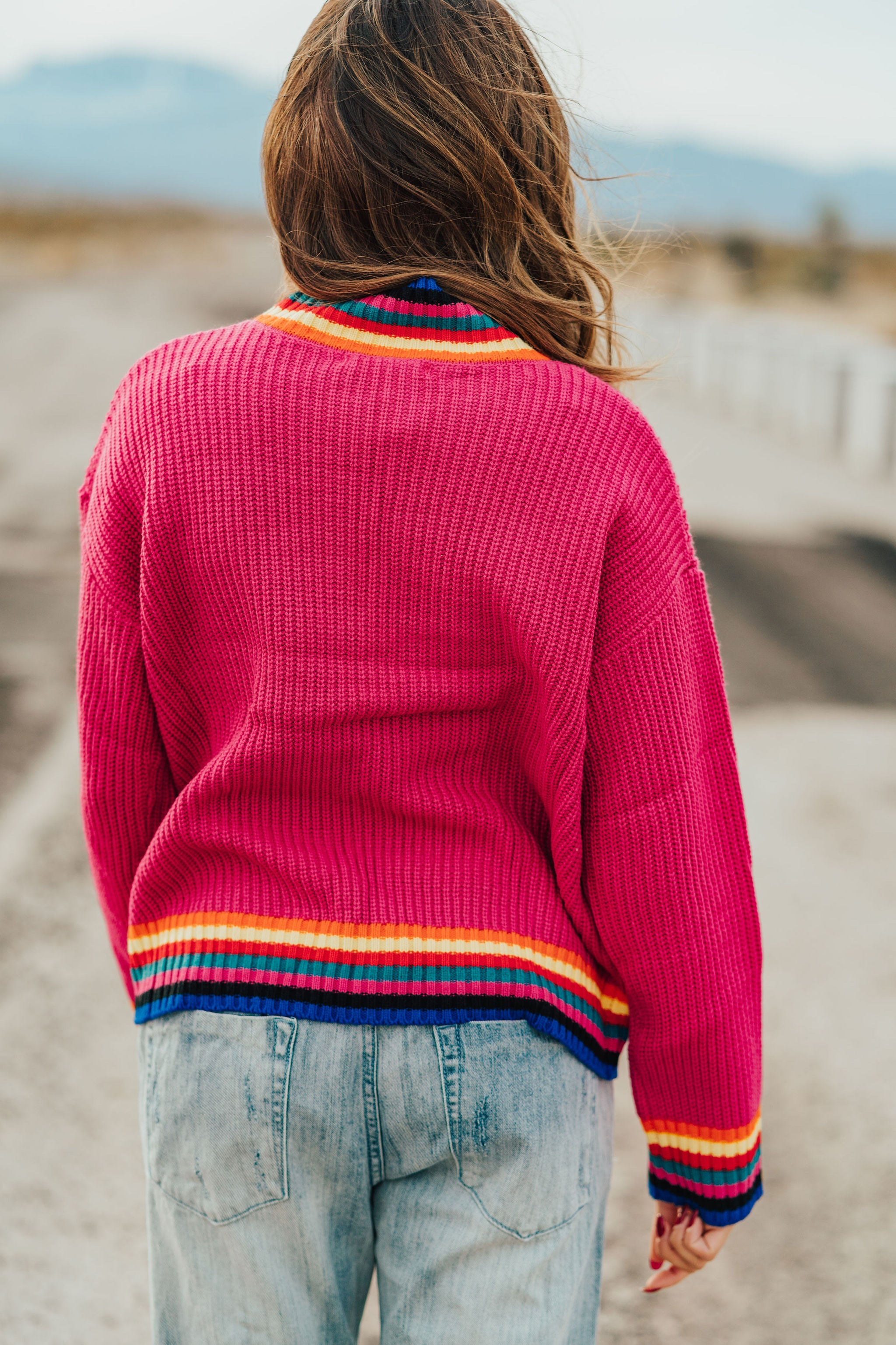 AL CARRAWAY X PINK DESERT - THE ROSALIE STRIPE DETAIL SWEATER IN FUCHSIA