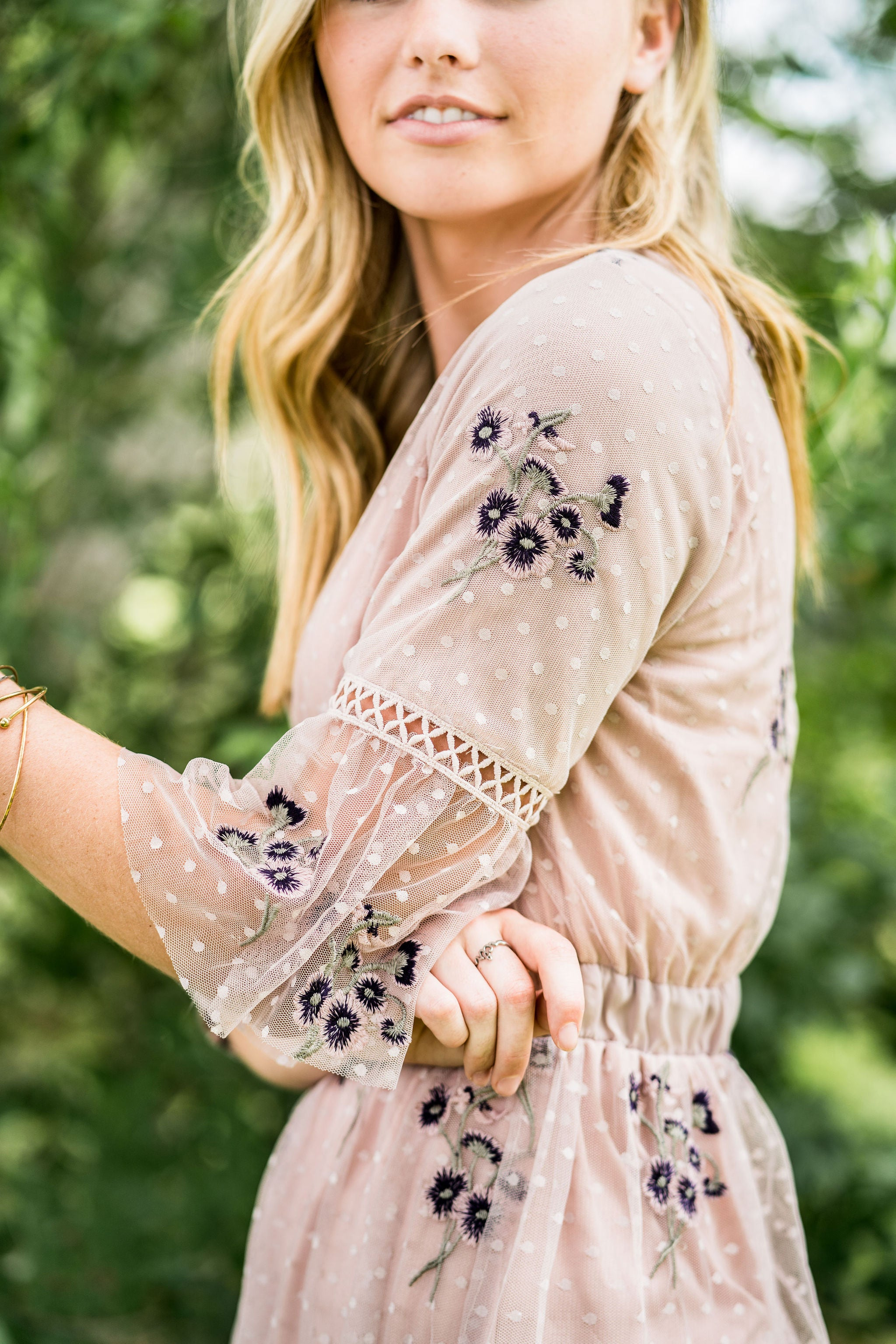 THE FULL BLOOM EMBROIDERED DRESS IN MAUVE