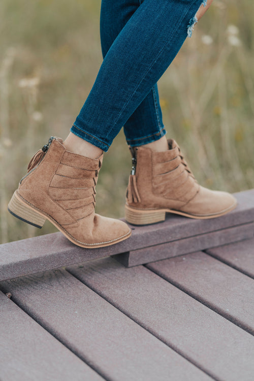 THE CHLOE WOVEN ANKLE BOOTIE IN WHISKEY