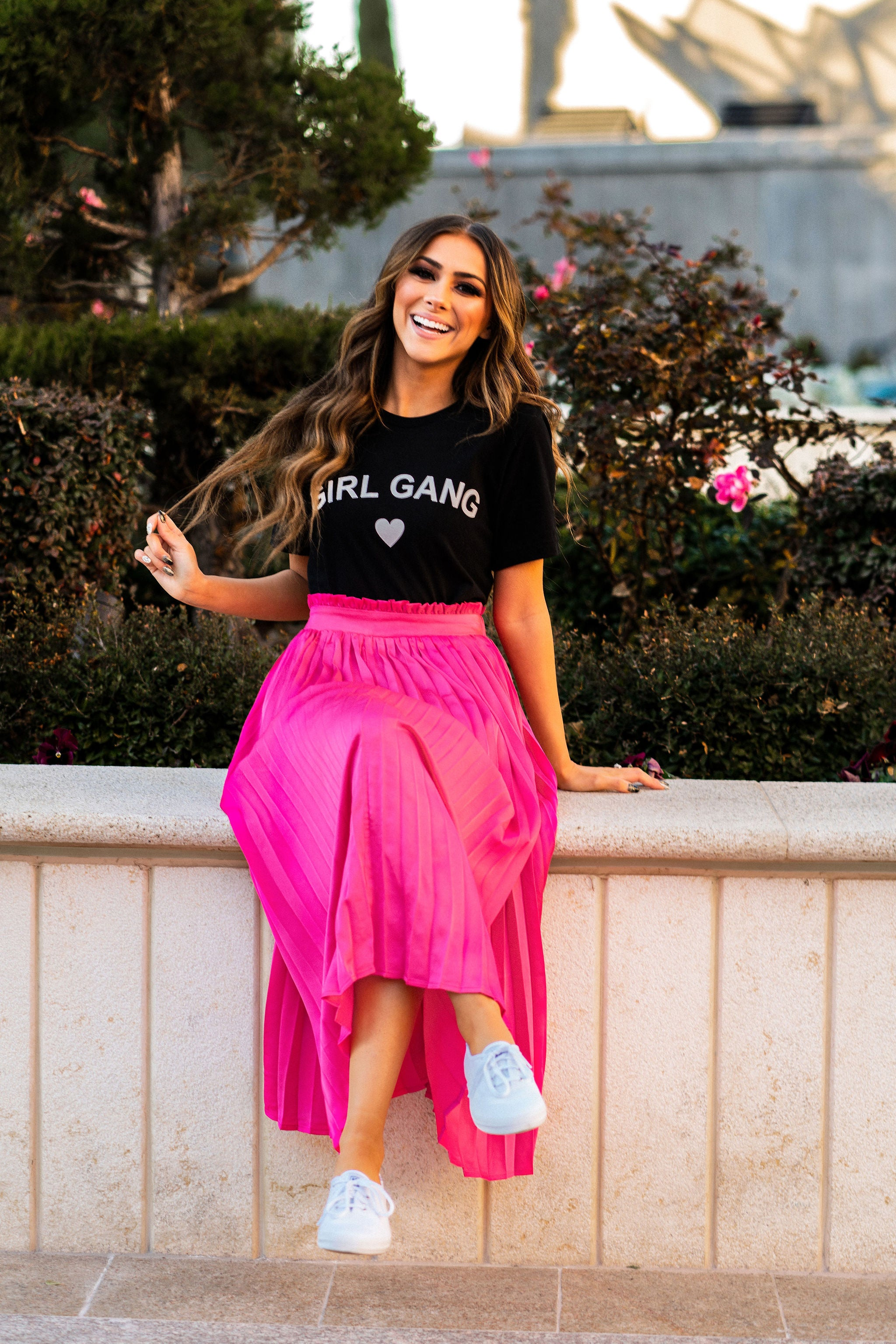 THE JENNY PLEATED SKIRT IN HOT PINK