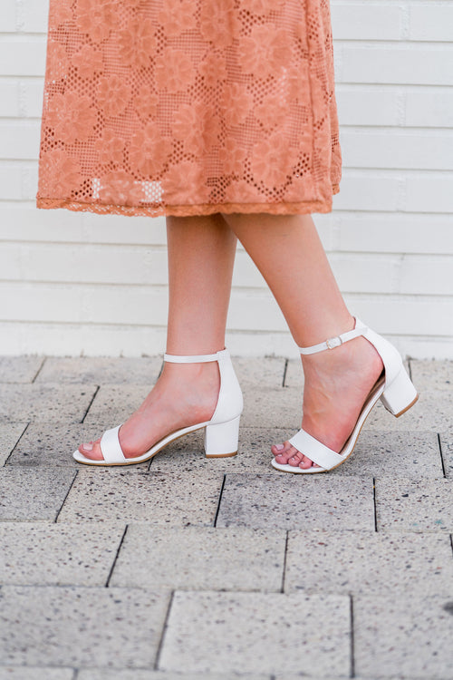THE JEAN ANKLE STRAP HEEL IN WHITE