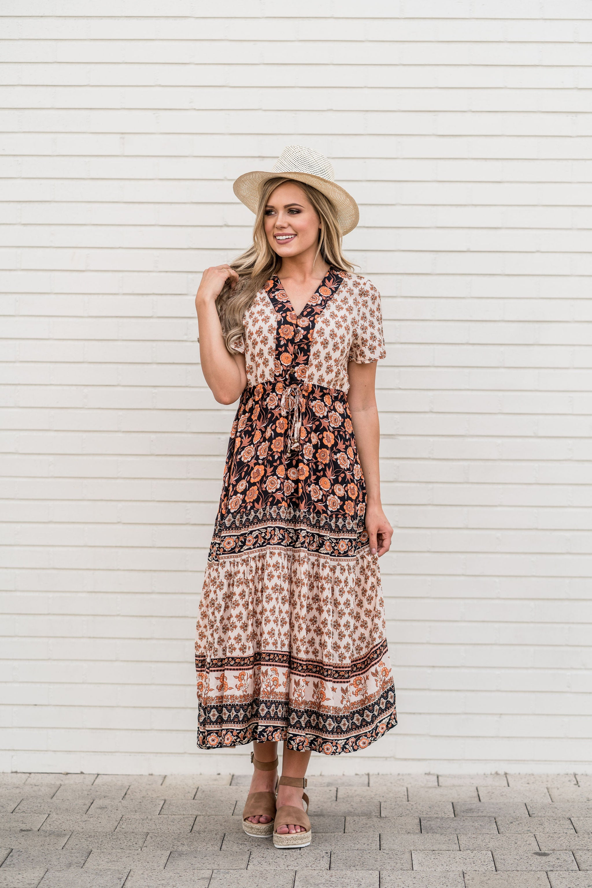 THE MARIA PATTERNED MAXI DRESS IN BROWN