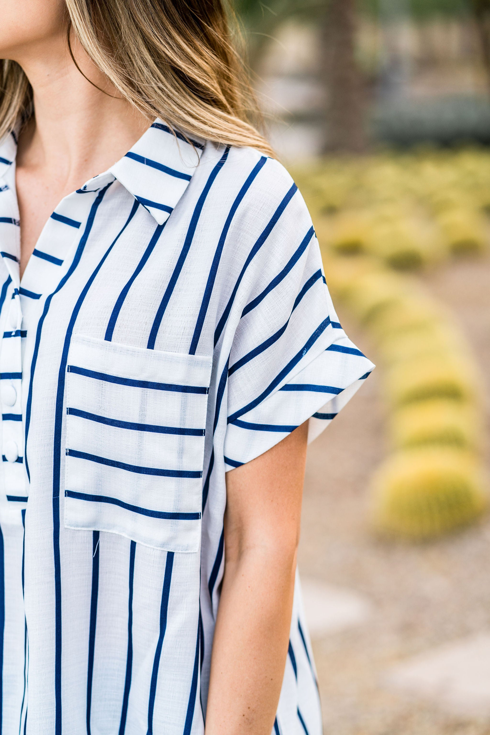THE BLAINE HENLEY TOP IN NAVY STRIPE