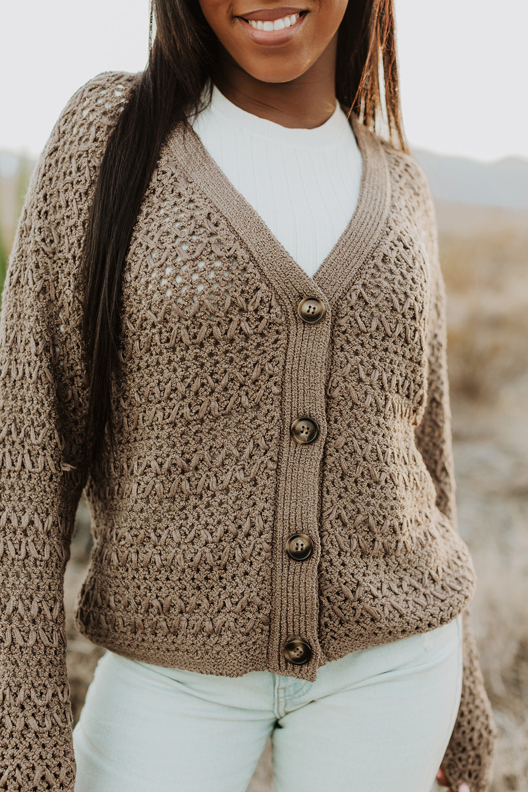 THE AUSTIN KNITTED CARDIGAN IN MUSHROOM