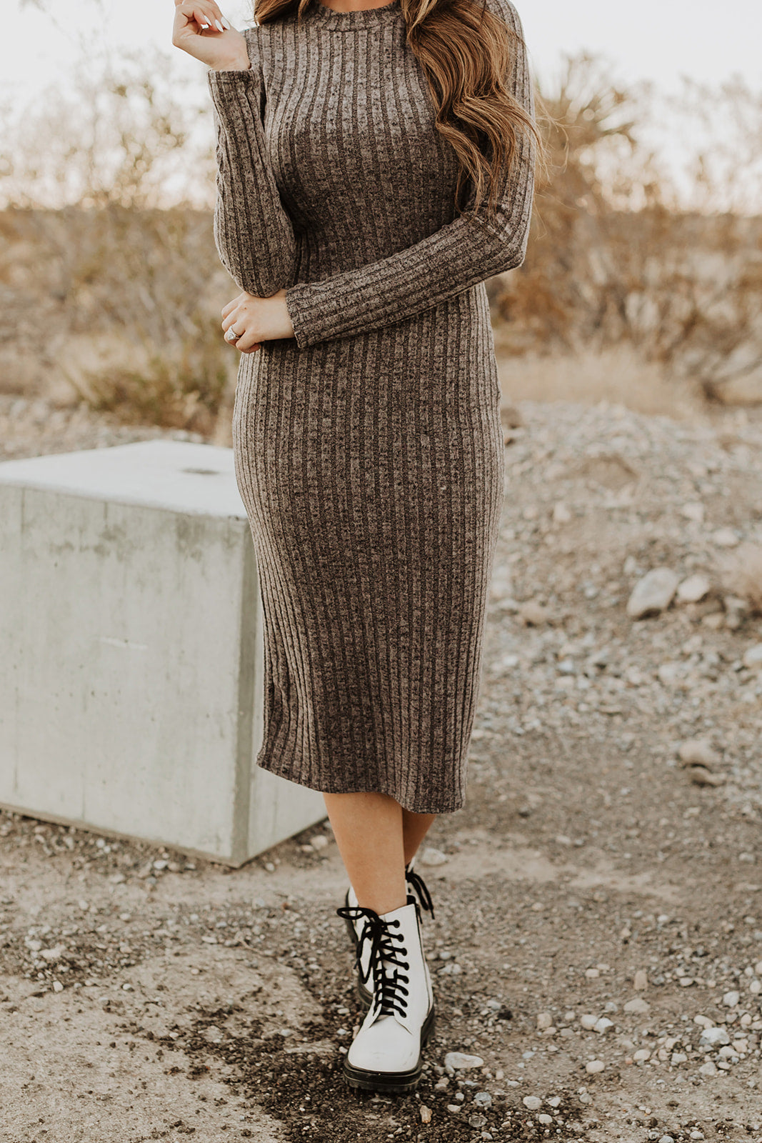 THE SYLVIA SWEATER DRESS IN SMOKEY GRAY