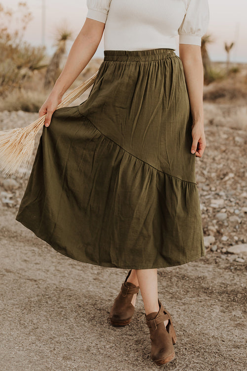 THE SOPHIA MIDI SKIRT IN OLIVE