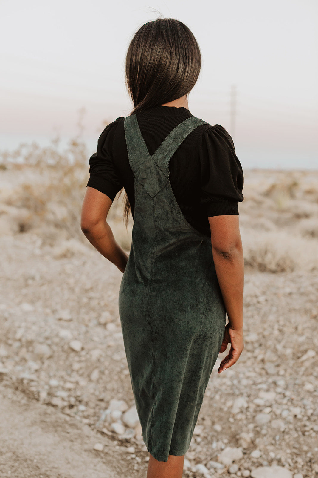 THE ODESSA OVERALL DRESS IN HUNTER GREEN