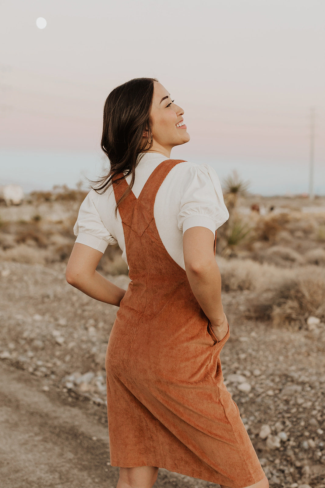 THE ODESSA OVERALL DRESS IN CAMEL