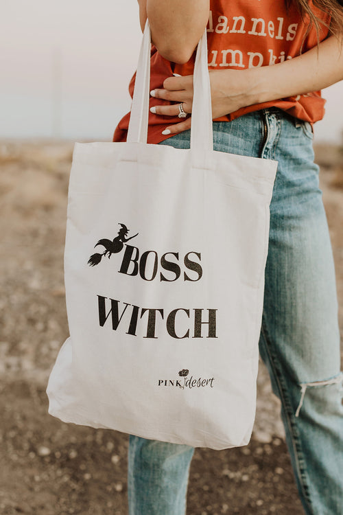THE BOSS WITCH TOTE BAG BY PINK DESERT