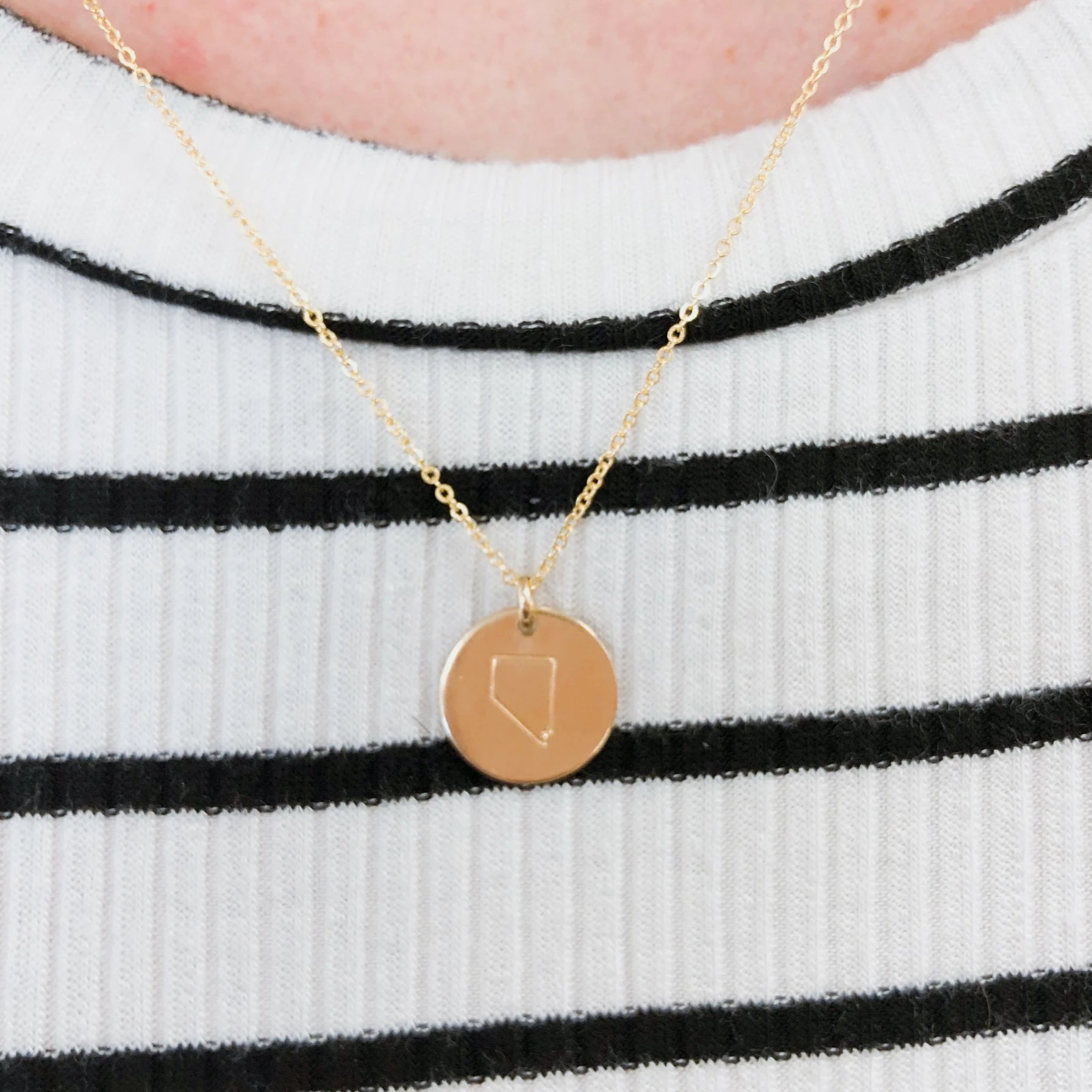 STATE DISC NECKLACE - GOLD FILLED - MADE BY MARY