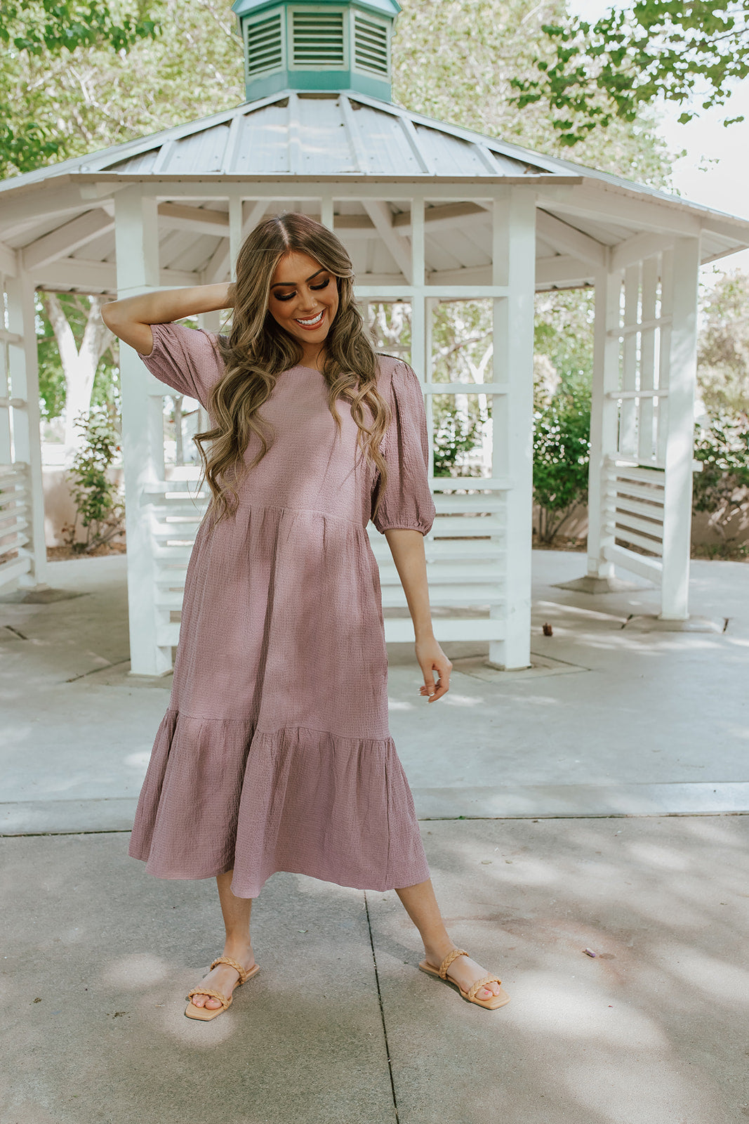 THE LANA TIERED MIDI DRESS IN DEEP LILAC