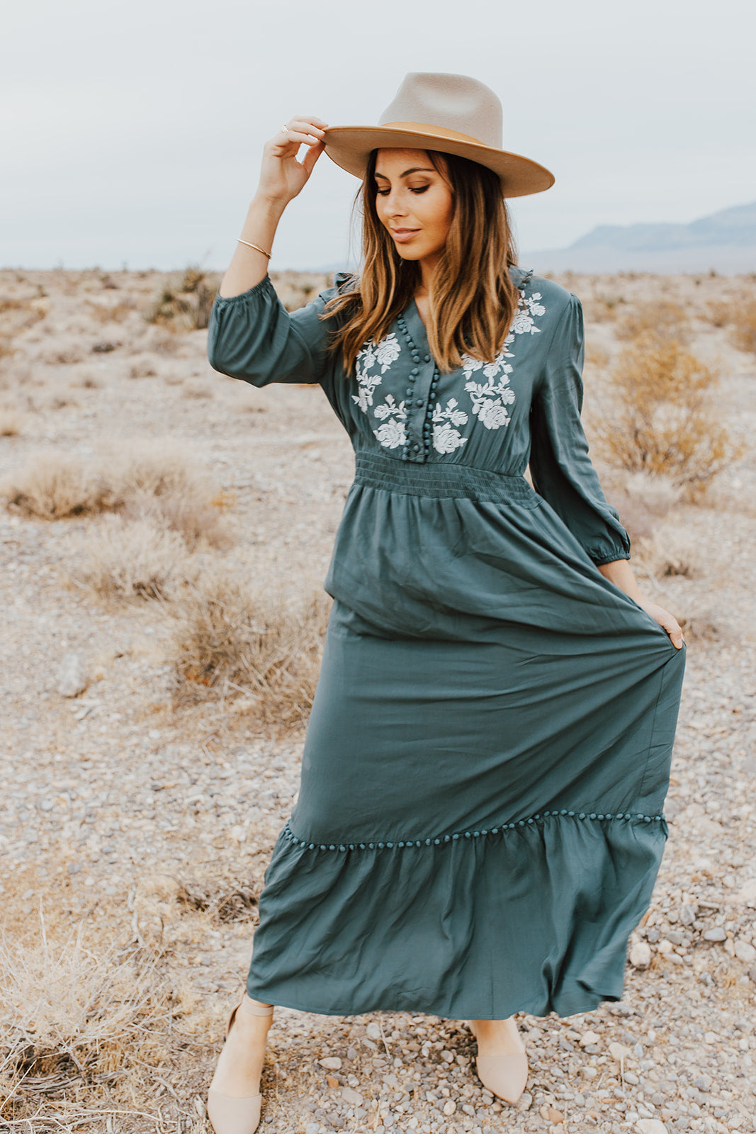 THE EVA EMBROIDERED MIDI DRESS IN TEAL