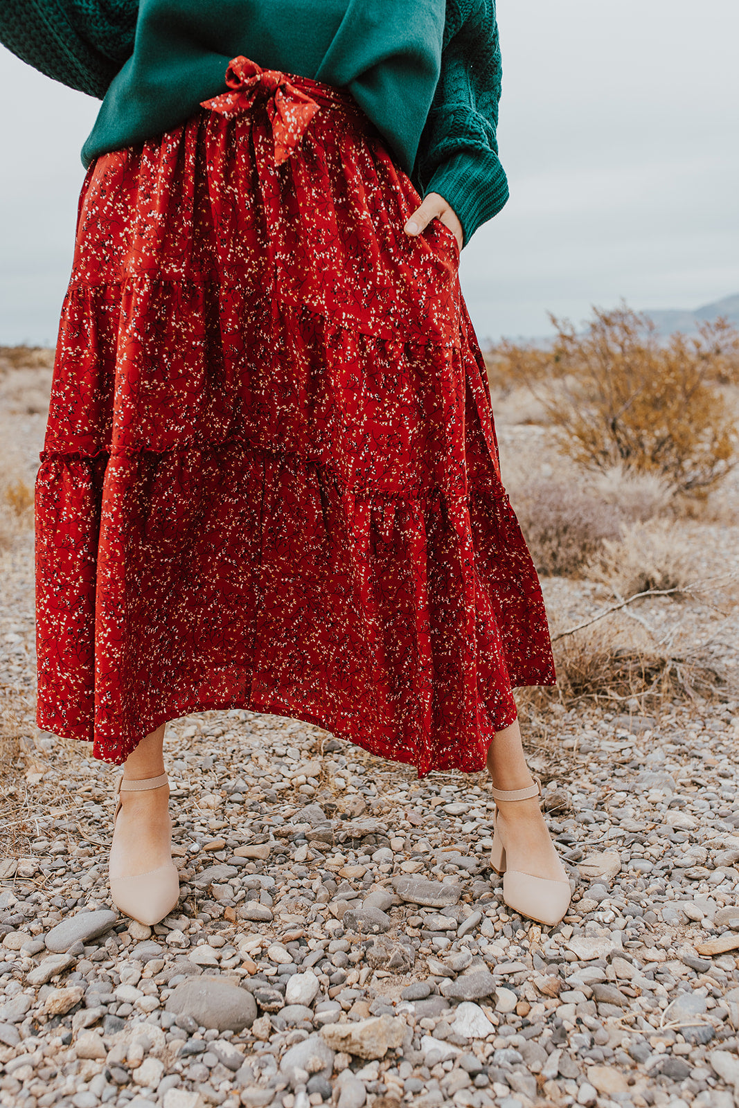 THE TRISTAN TIERED MIDI SKIRT IN RED FLORAL