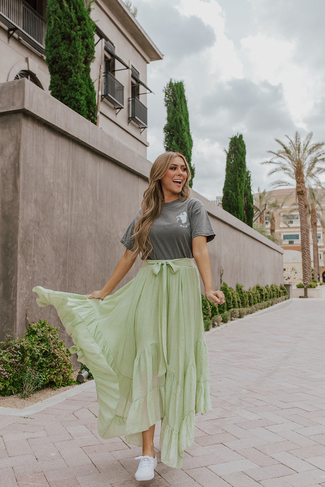 THE LINCOLN MAXI SKIRT IN LIME