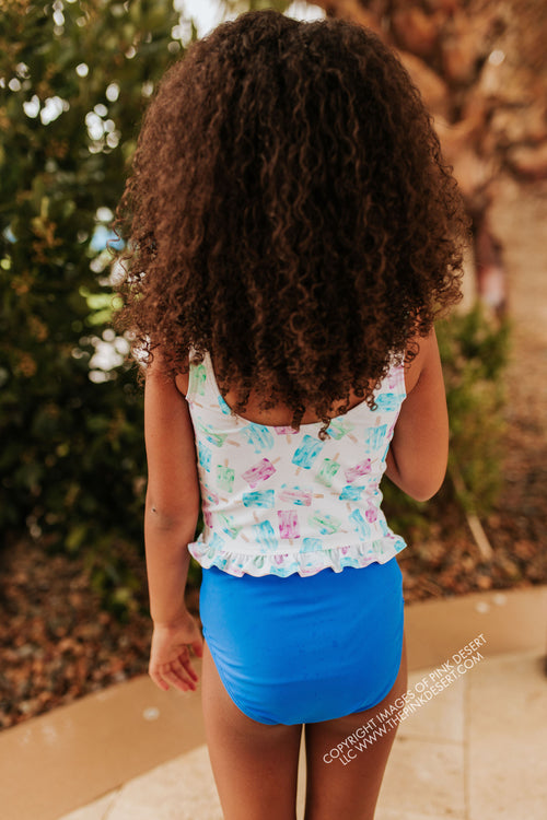 PINK DESERT GIRLS MINI RUFFLE PEPLUM SWIMSUIT SET IN POPSICLE AND ROYAL BLUE