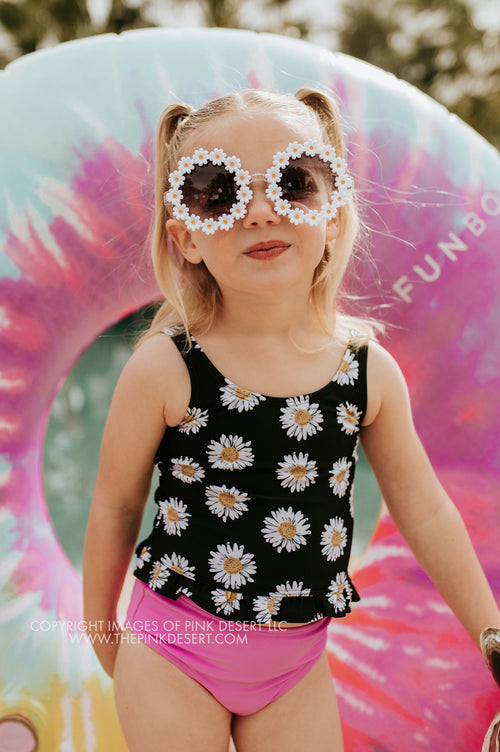 PINK DESERT GIRLS MINI RUFFLE PEPLUM SWIMSUIT SET IN LA LA DAISY AND NEON LILAC