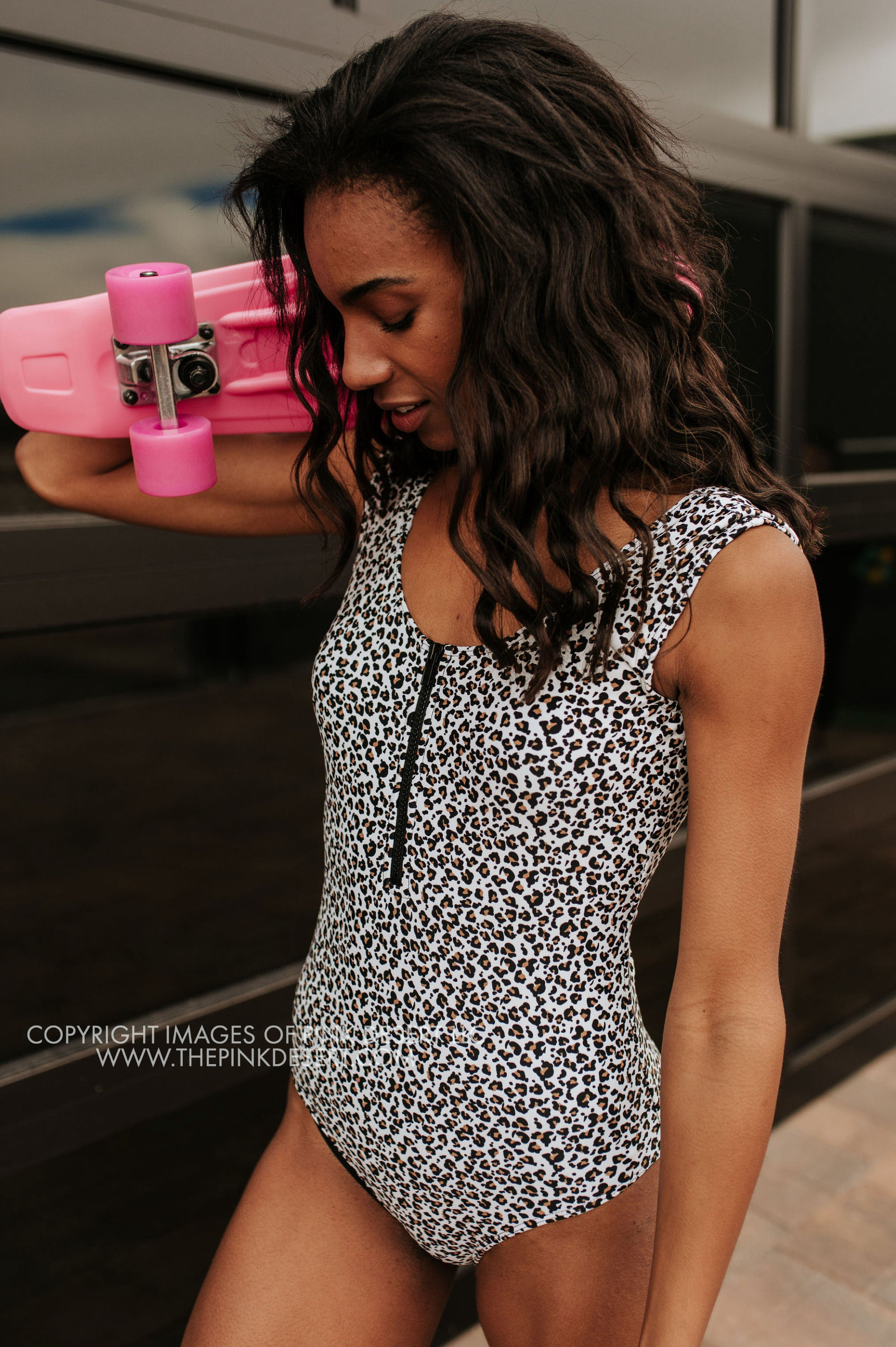 PINK DESERT SPORTY CAP SLEEVE ZIPPER ONE PIECE IN SNOW LEOPARD