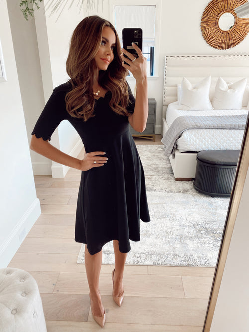 THE SCALLOPED LITTLE BLACK DRESS BY PINK DESERT
