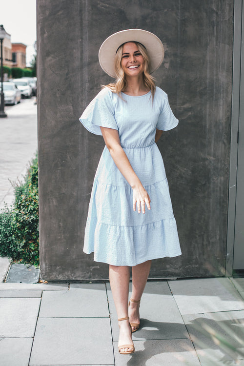 THE JADIE ELASTIC WAIST DRESS IN PERIWINKLE