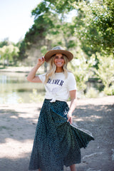 THE ROXY SPOTTED MAXI SKIRT IN FOREST GREEN