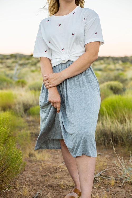 THE ELLA ELASTIC WAISTBAND SKIRT IN HEATHER GRAY