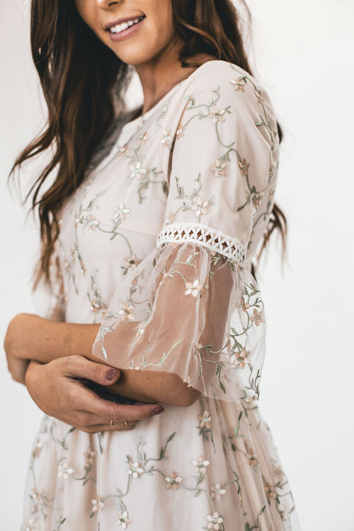 THE FULL BLOOM EMBROIDERED DRESS IN CREAM