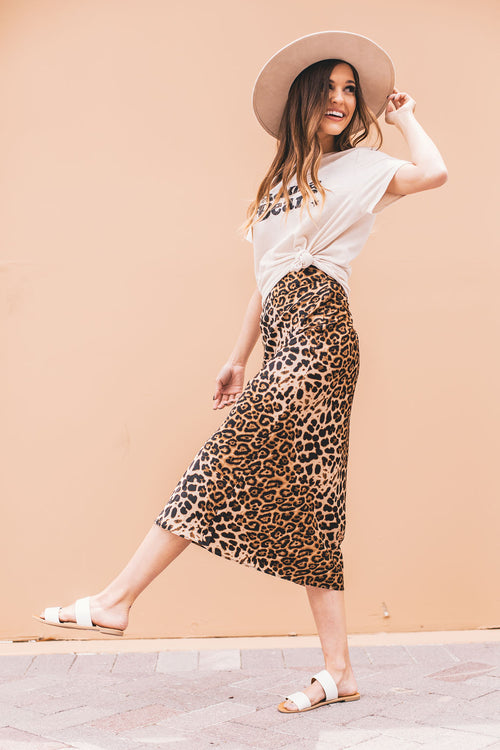 THE ROXY MIDI SKIRT IN LEOPARD