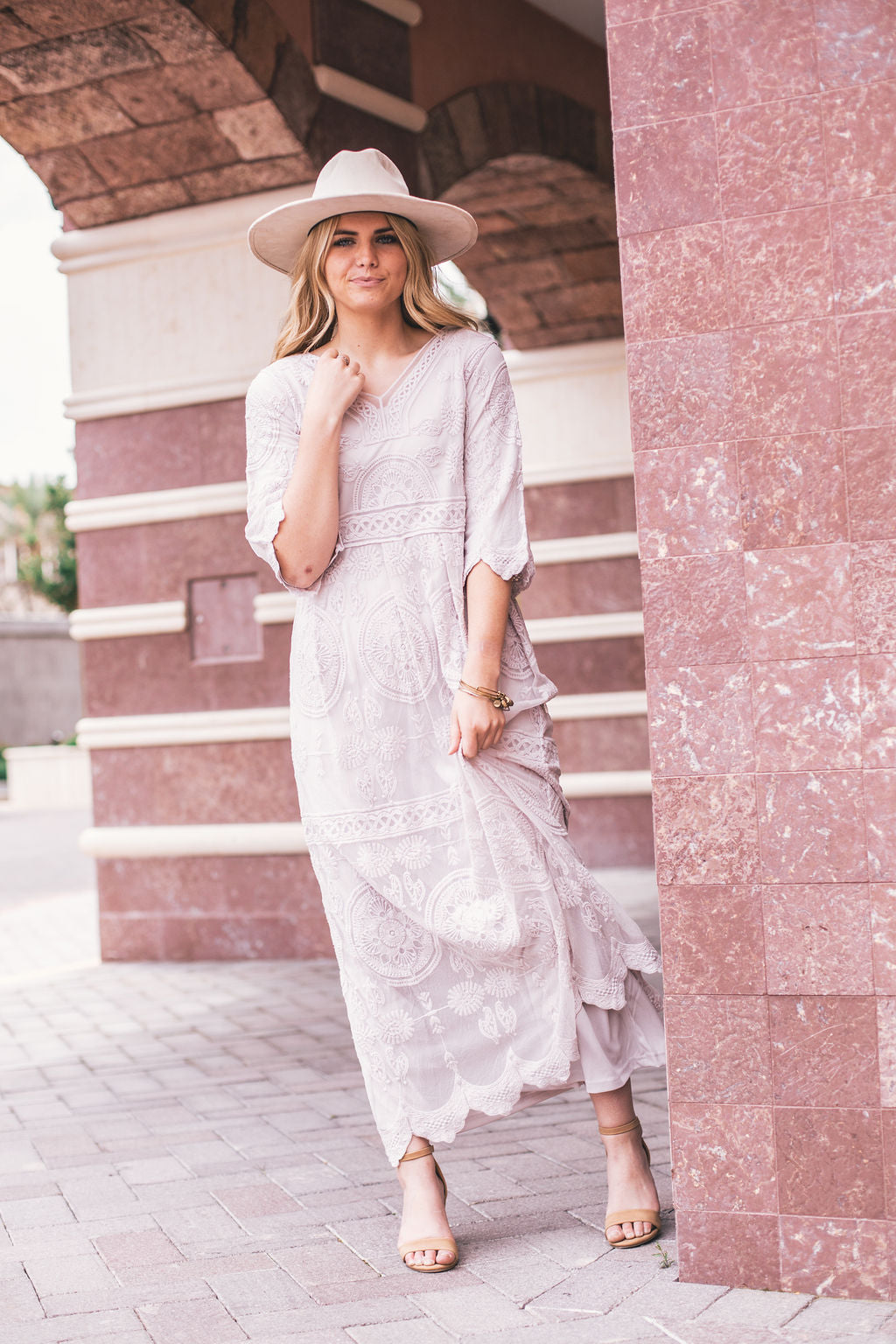 THE EDITH LACE MAXI DRESS IN SILVER