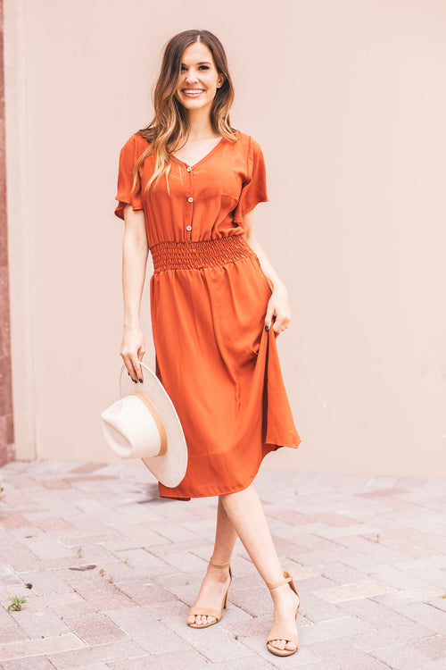 THE EMMIE MIDI DRESS IN RUST