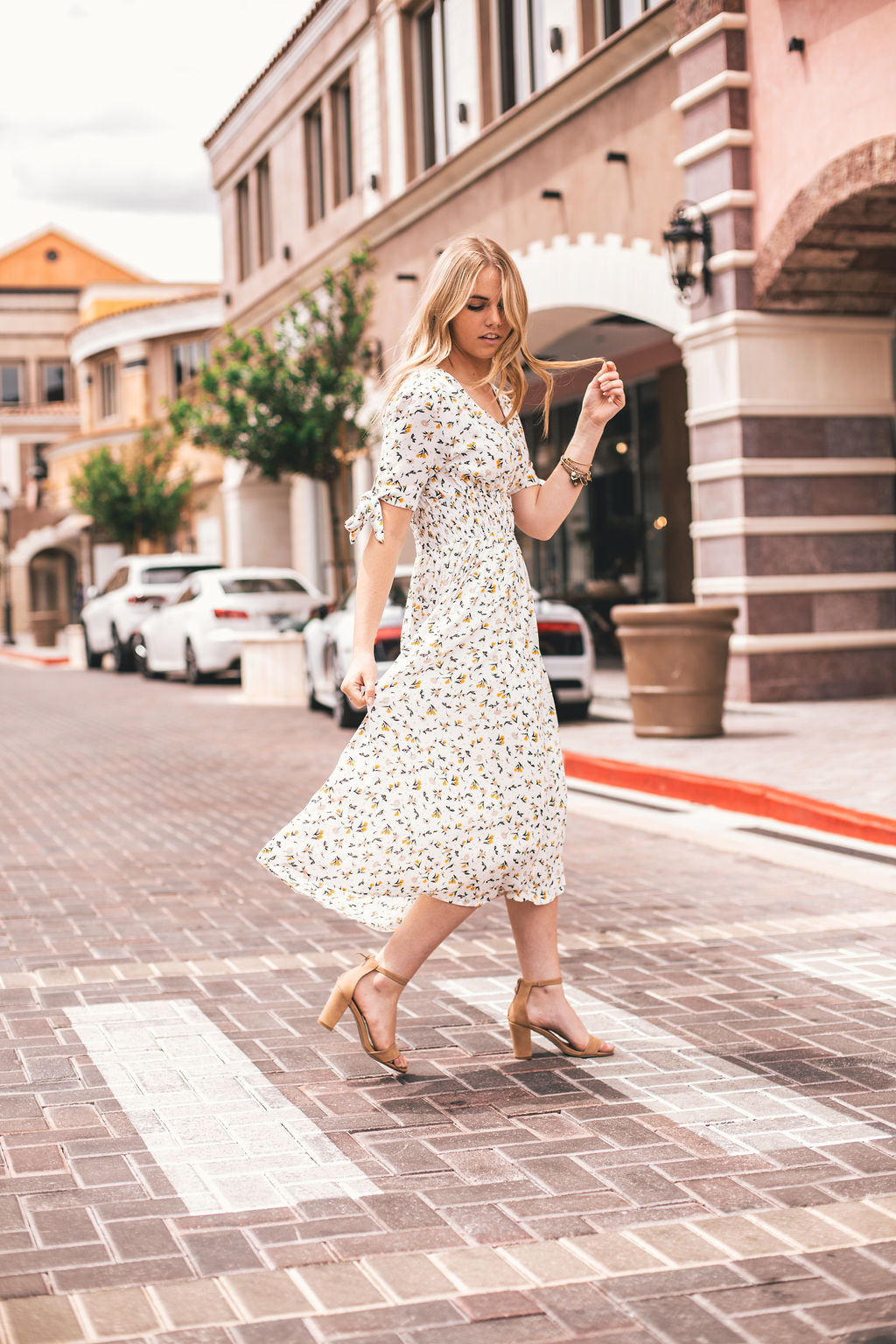 THE IVY FLORAL MIDI DRESS IN WHITE