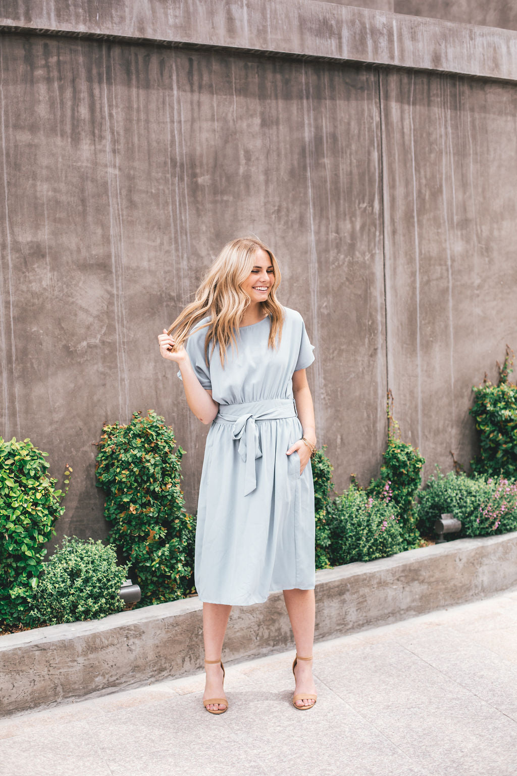 THE MELODY MIDI DRESS IN SOFT BLUE