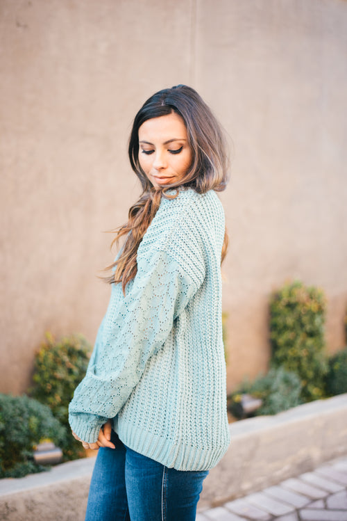 THE JOY CHENILLE SWEATER IN SEAFOAM