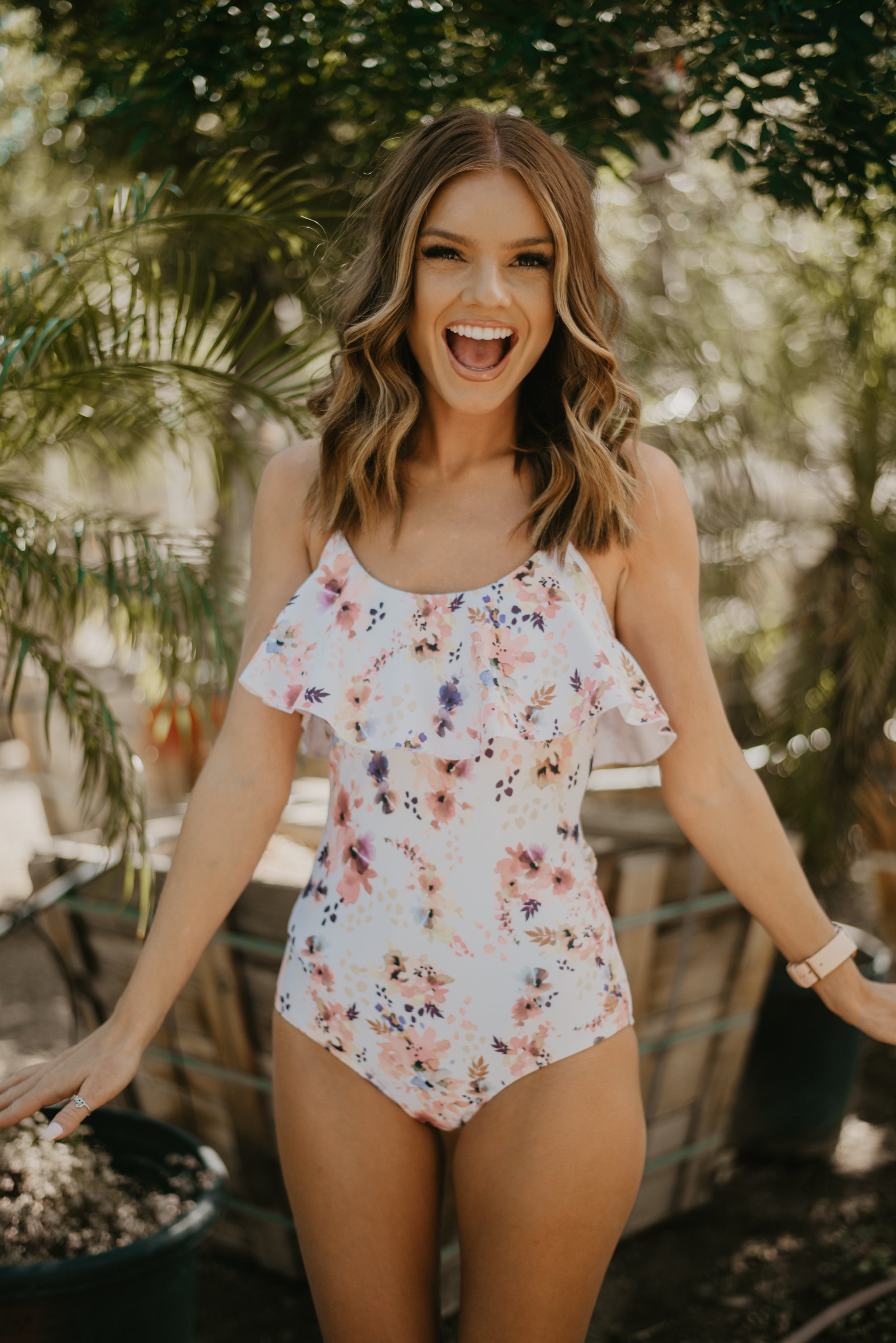 THE ABSTRACT FLORAL RUFFLE ONE-PIECE