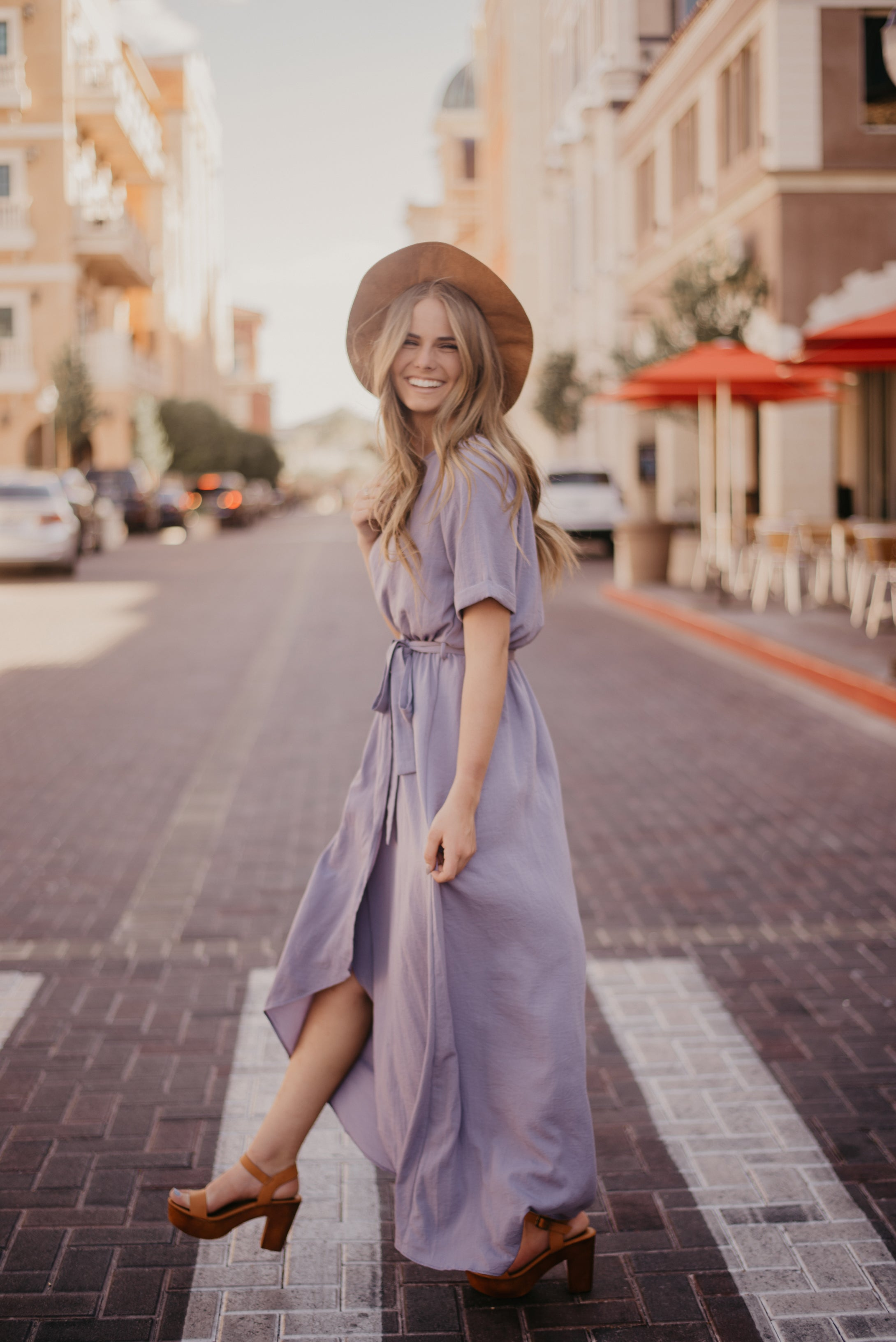 THE SELENA WRAP MAXI DRESS IN ORCHID