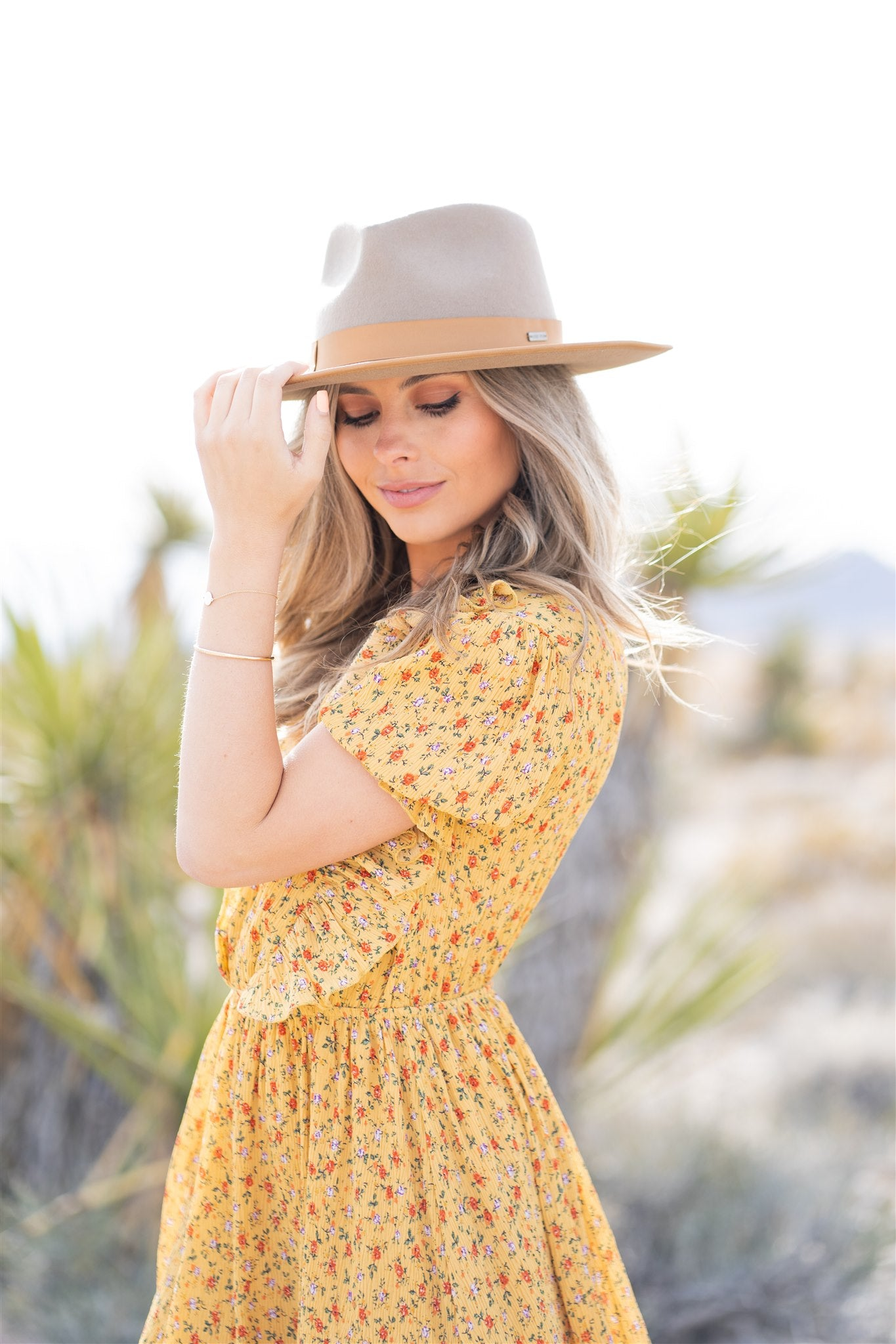 THE ADDISON BUTTON DOWN FLORAL MIDI DRESS IN YELLOW