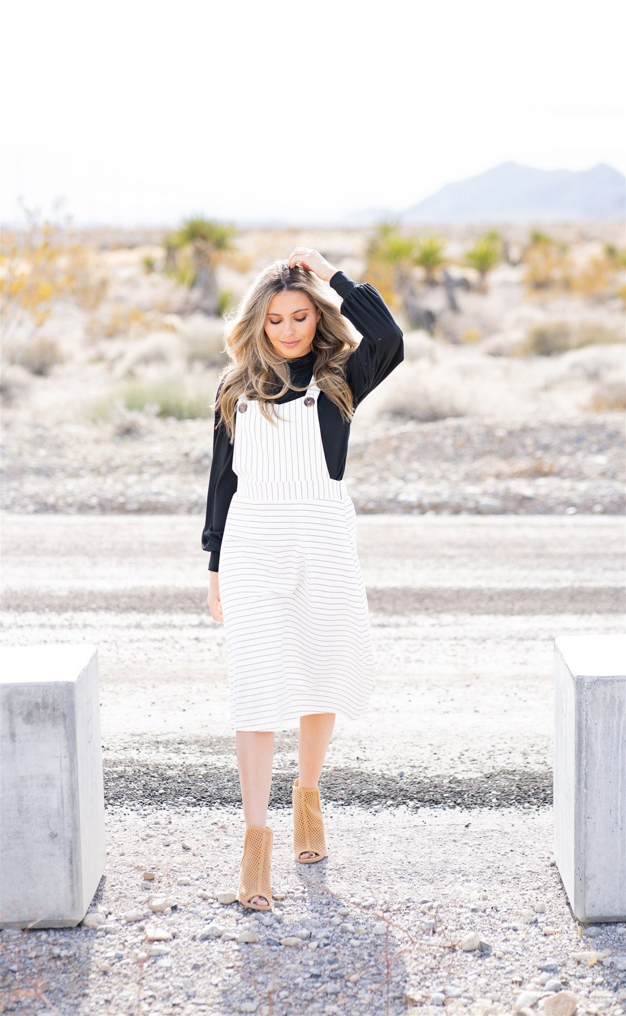 THE BELLE PINSTRIPE OVERALL DRESS IN IVORY