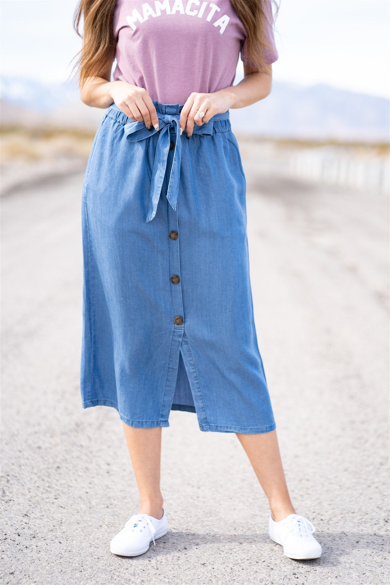 THE BERKELEY BUTTON DOWN SKIRT IN BLUE DENIM