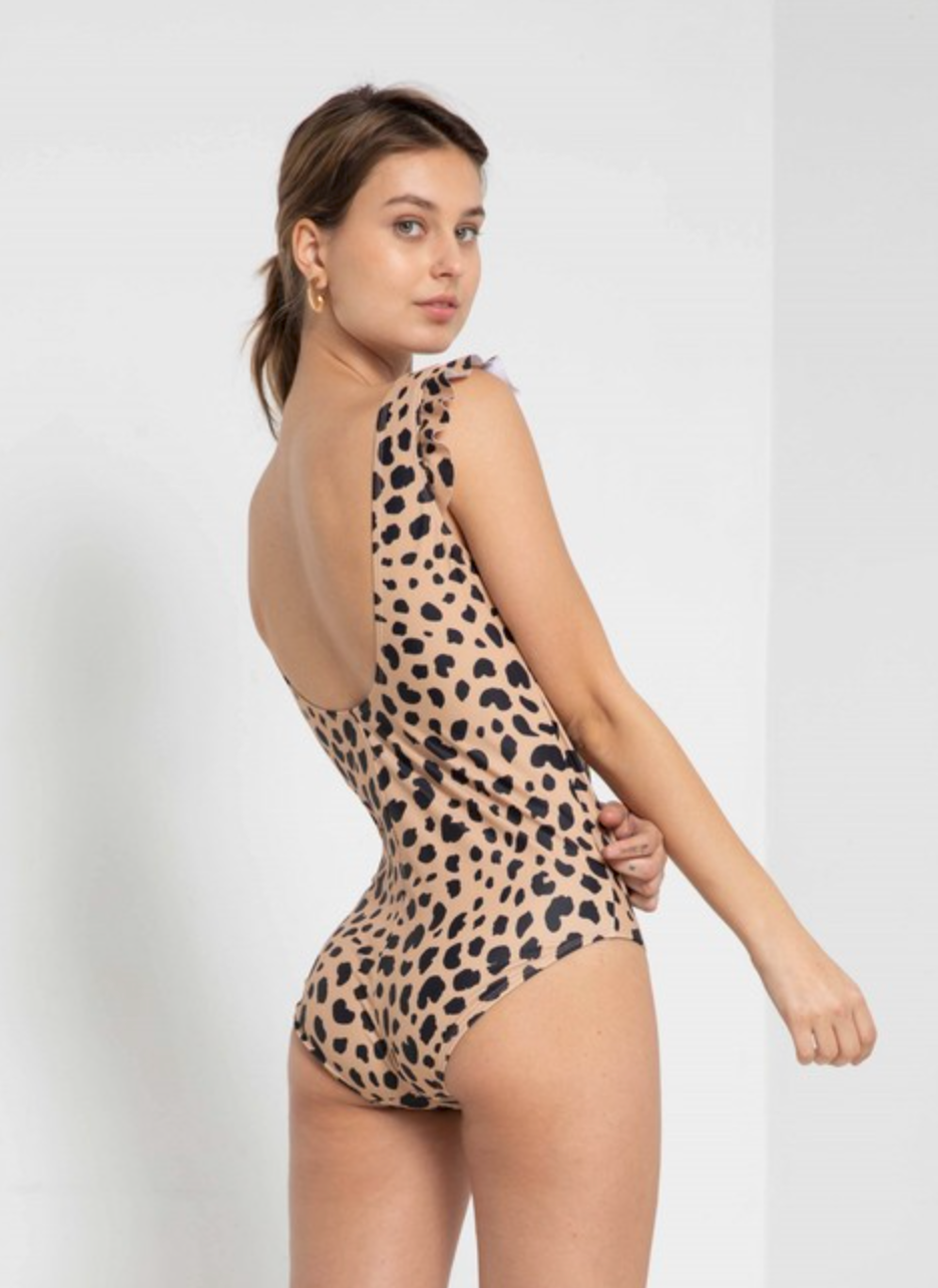 THE LEOPARD RUFFLE SLEEVE ONE PIECE SUIT
